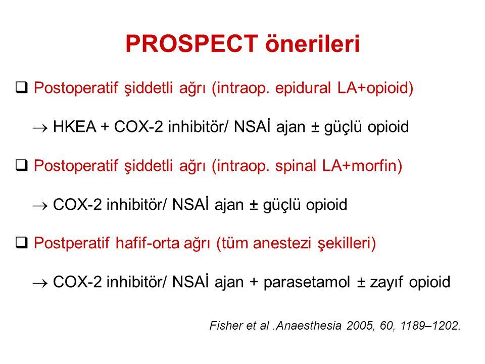 PROSPECT önerileri Postoperatif şiddetli ağrı (intraop. epidural LA+opioid)  HKEA + COX-2 inhibitör/ NSAİ ajan ± güçlü opioid.