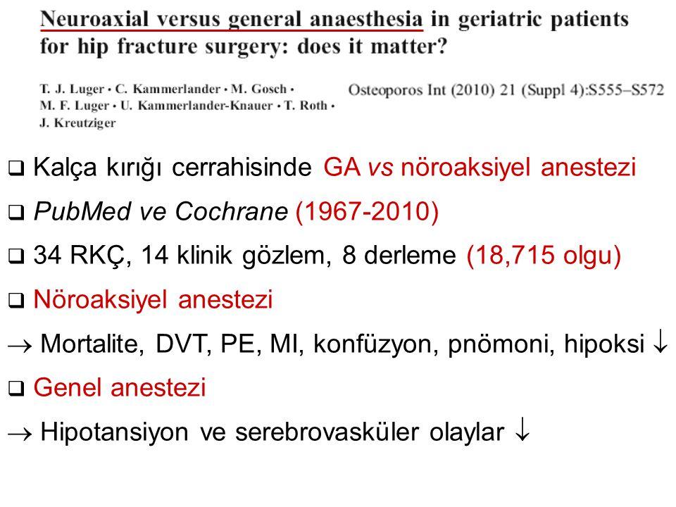 Kalça kırığı cerrahisinde GA vs nöroaksiyel anestezi