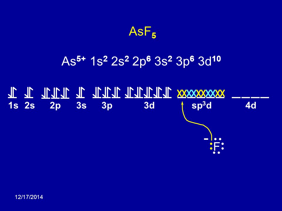AsF5 As5+ 1s2 2s2 2p6 3s2 3p6 3d10 F 1s 2s 2p 3s 3p 3d 4d sp3d •