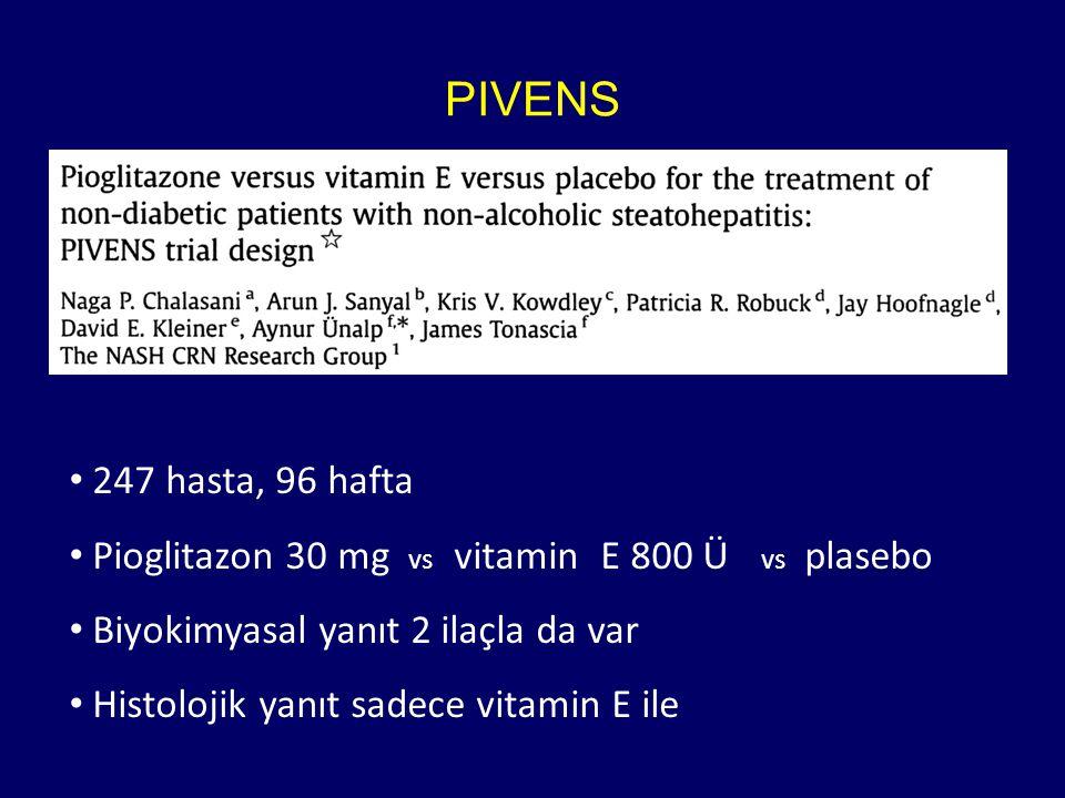 PIVENS 247 hasta, 96 hafta. Pioglitazon 30 mg vs vitamin E 800 Ü vs plasebo. Biyokimyasal yanıt 2 ilaçla da var.