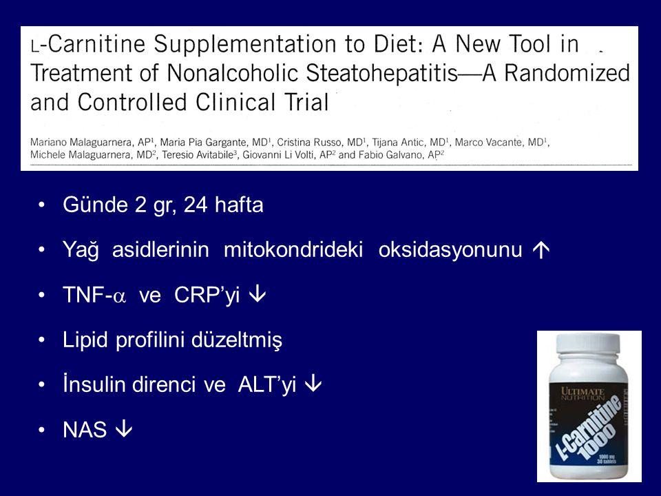 Günde 2 gr, 24 hafta Yağ asidlerinin mitokondrideki oksidasyonunu  TNF-a ve CRP'yi  Lipid profilini düzeltmiş.