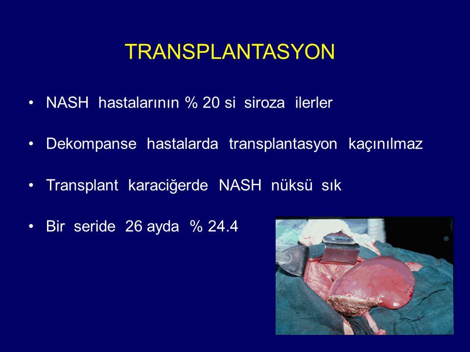 TRANSPLANTASYON NASH hastalarının % 20 si siroza ilerler