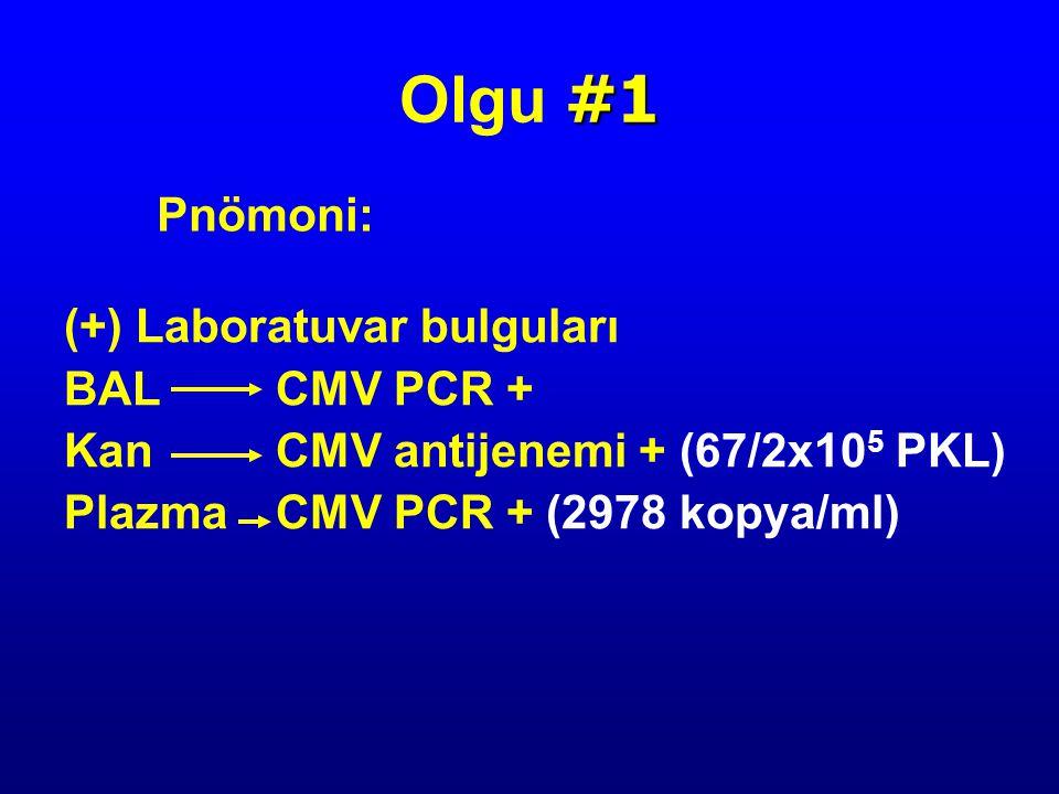 Olgu #1 Pnömoni: (+) Laboratuvar bulguları BAL CMV PCR +