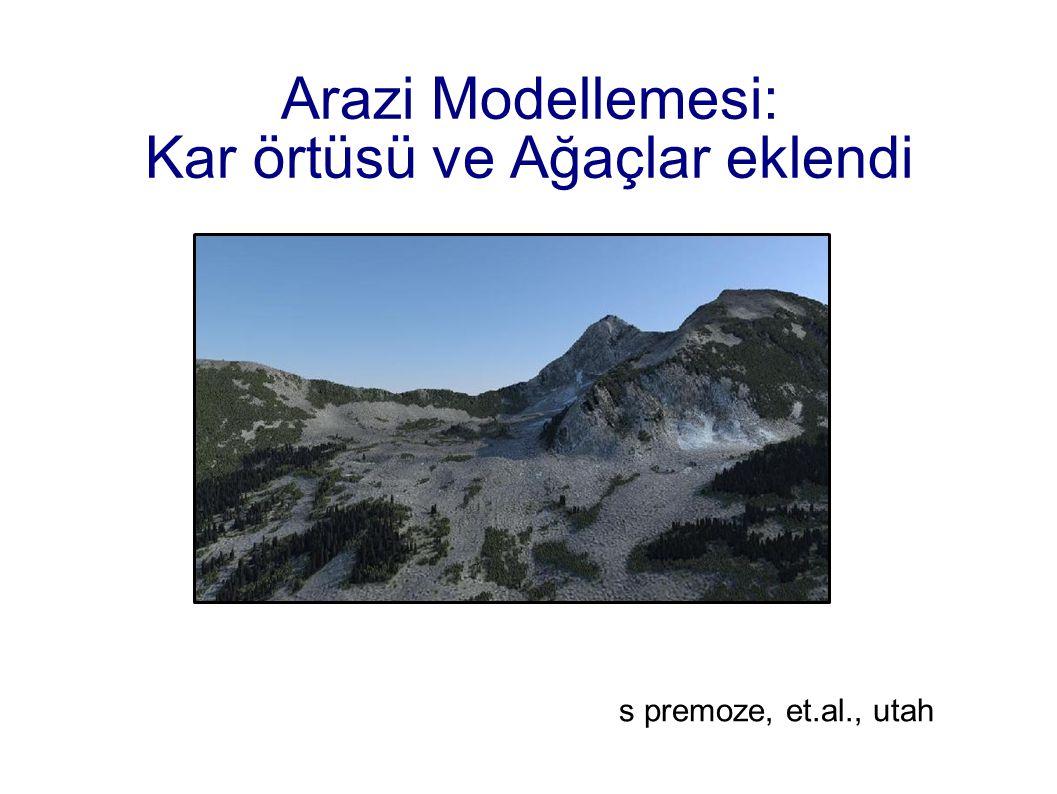 Arazi Modellemesi: Kar örtüsü ve Ağaçlar eklendi