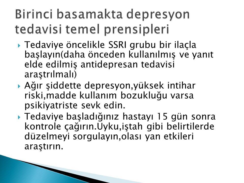 Birinci basamakta depresyon tedavisi temel prensipleri