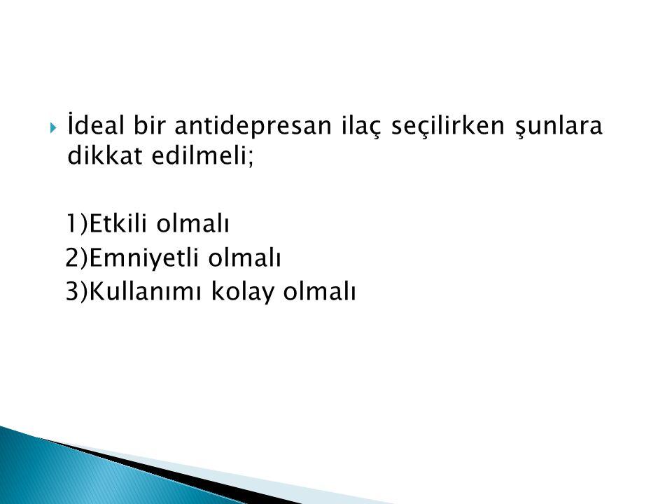 İdeal bir antidepresan ilaç seçilirken şunlara dikkat edilmeli;