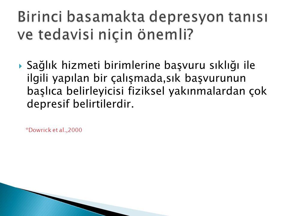 Birinci basamakta depresyon tanısı ve tedavisi niçin önemli