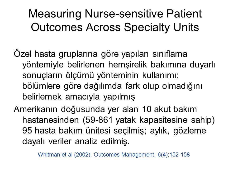 Measuring Nurse-sensitive Patient Outcomes Across Specialty Units