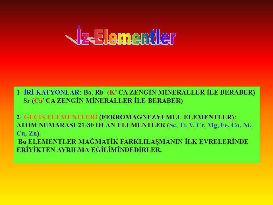 İz Elementler 1- İRİ KATYONLAR: Ba, Rb (K' CA ZENGİN MİNERALLER İLE BERABER) Sr (Ca' CA ZENGİN MİNERALLER İLE BERABER)