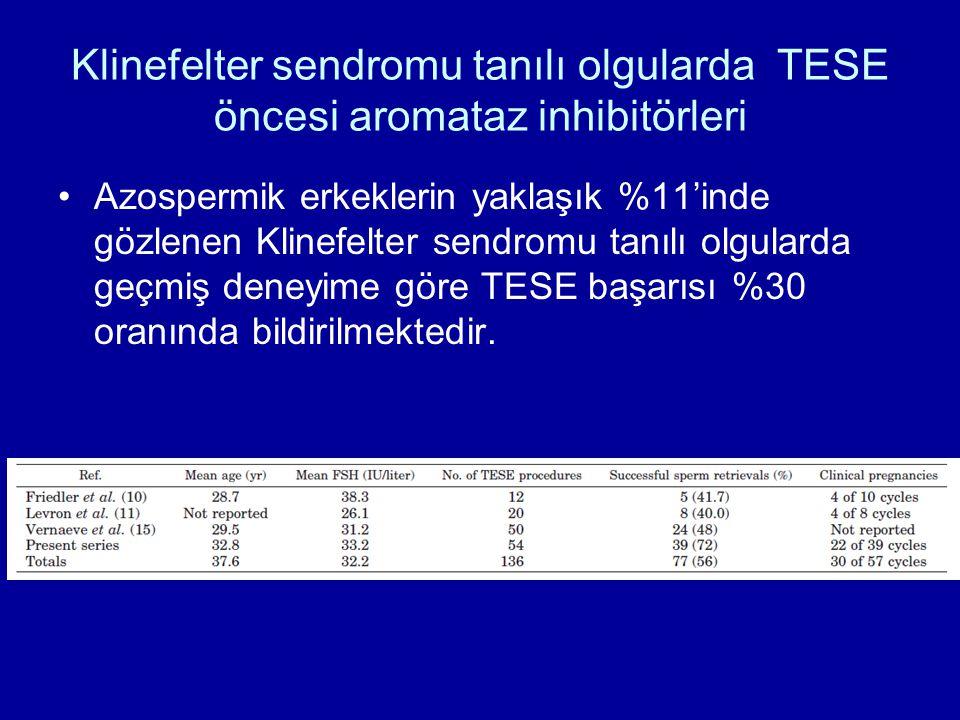 Klinefelter sendromu tanılı olgularda TESE öncesi aromataz inhibitörleri