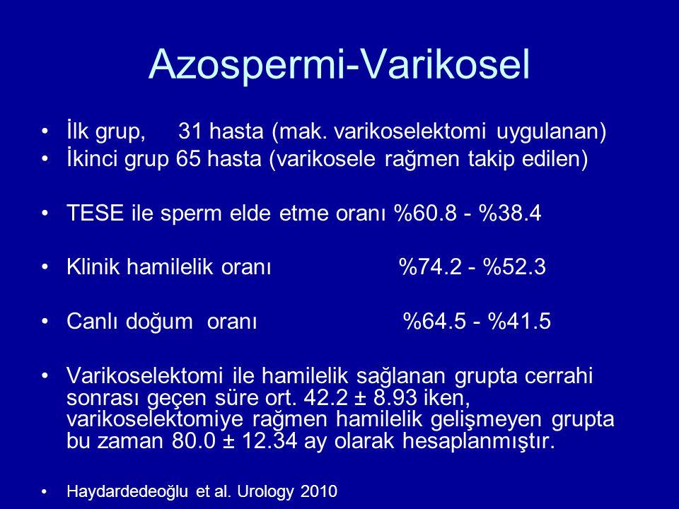 Azospermi-Varikosel İlk grup, 31 hasta (mak. varikoselektomi uygulanan) İkinci grup 65 hasta (varikosele rağmen takip edilen)