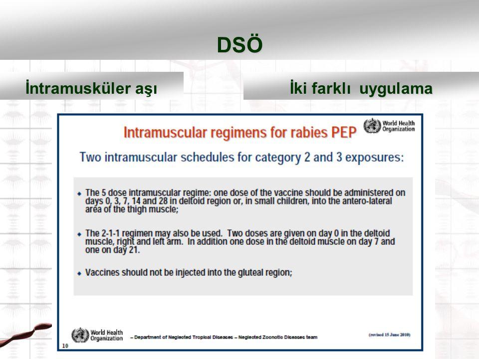DSÖ 2-1-1 0.,7.,21. günde 3 başvuru İntramusküler aşı