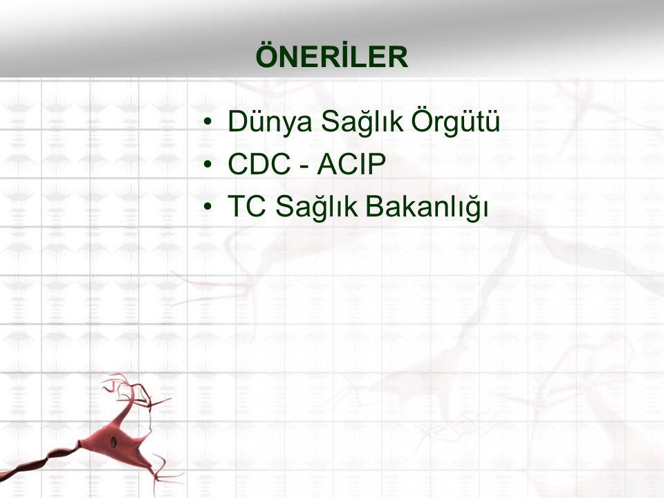 ÖNERİLER Dünya Sağlık Örgütü CDC - ACIP TC Sağlık Bakanlığı