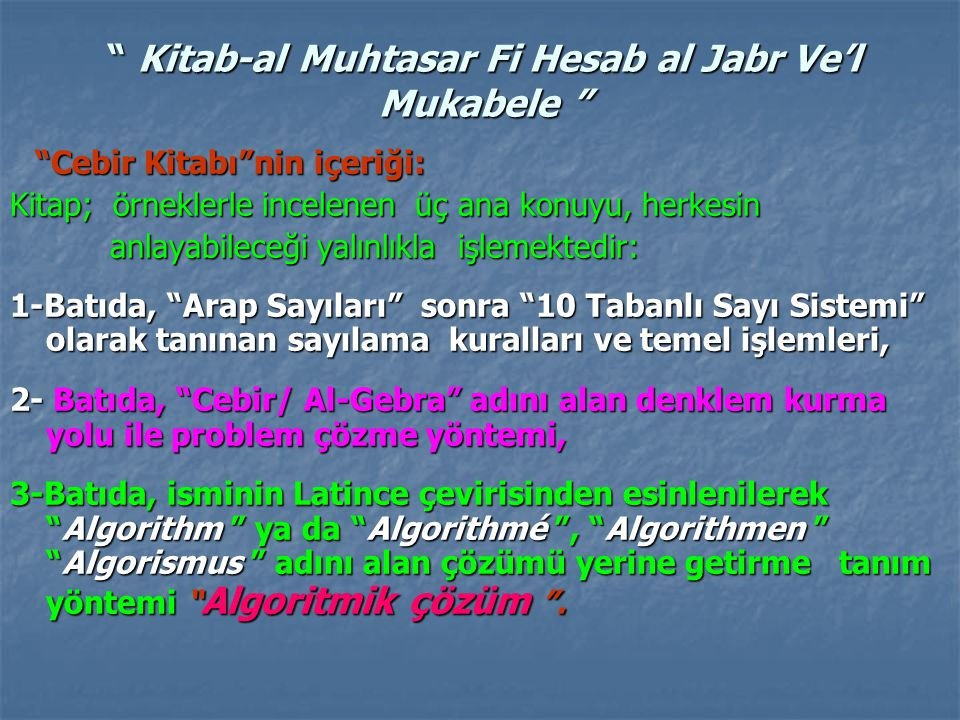 Kitab-al Muhtasar Fi Hesab al Jabr Ve'l Mukabele