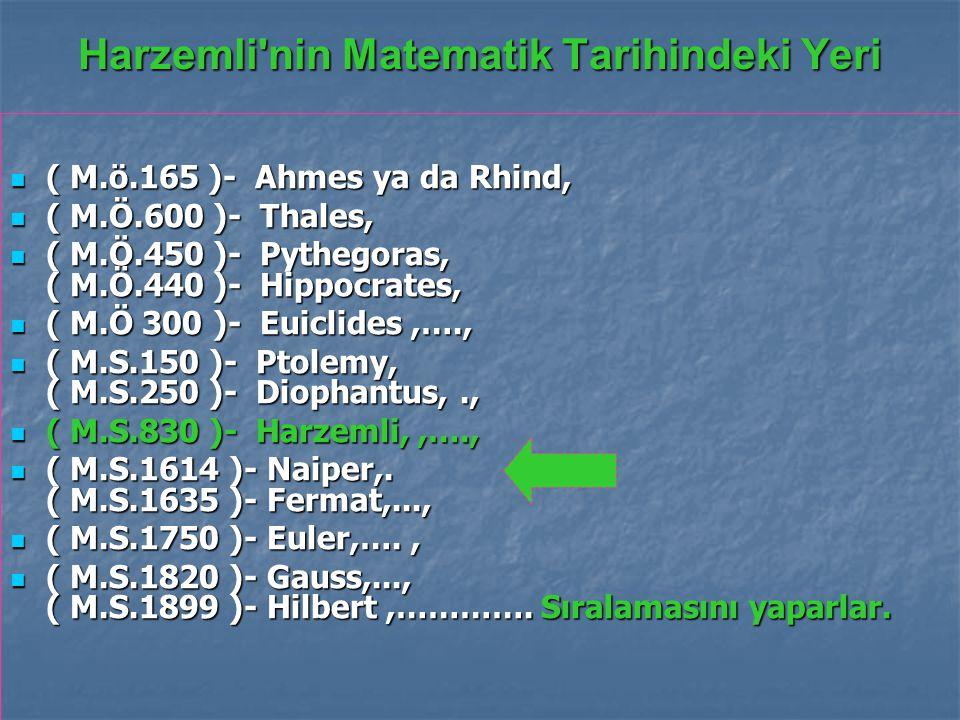 Harzemli nin Matematik Tarihindeki Yeri