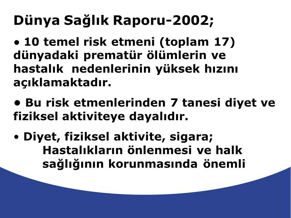 Dünya Sağlık Raporu-2002; • 10 temel risk etmeni (toplam 17) dünyadaki prematür ölümlerin ve hastalık nedenlerinin yüksek hızını açıklamaktadır.