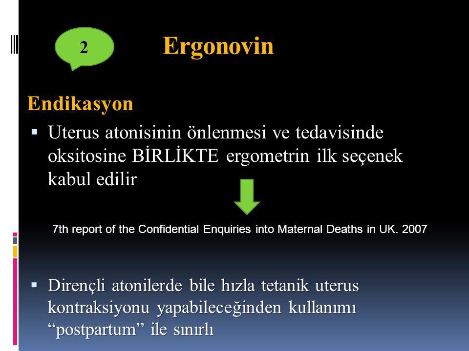 Ergonovin 2. Endikasyon. Uterus atonisinin önlenmesi ve tedavisinde oksitosine BİRLİKTE ergometrin ilk seçenek kabul edilir.