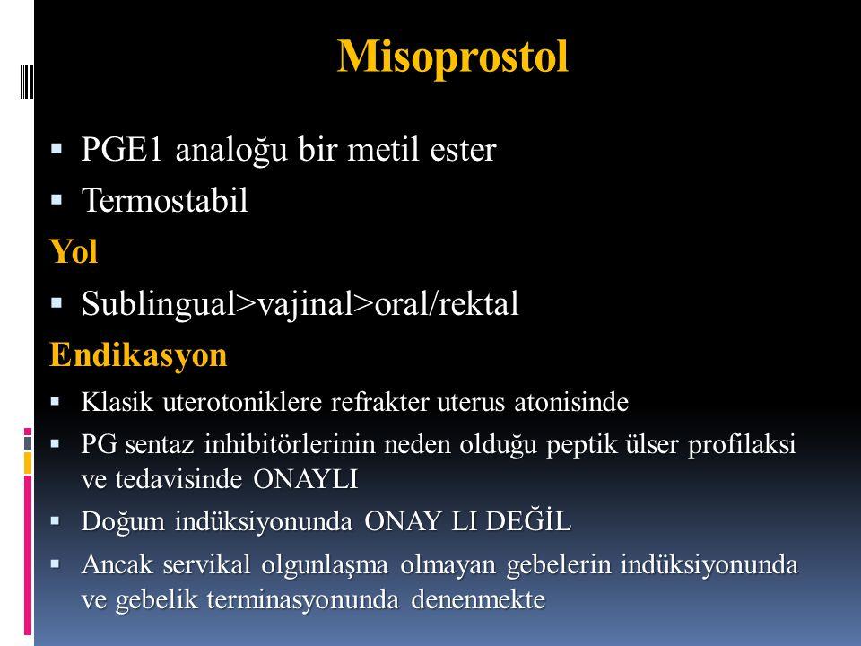 Misoprostol PGE1 analoğu bir metil ester Termostabil Yol