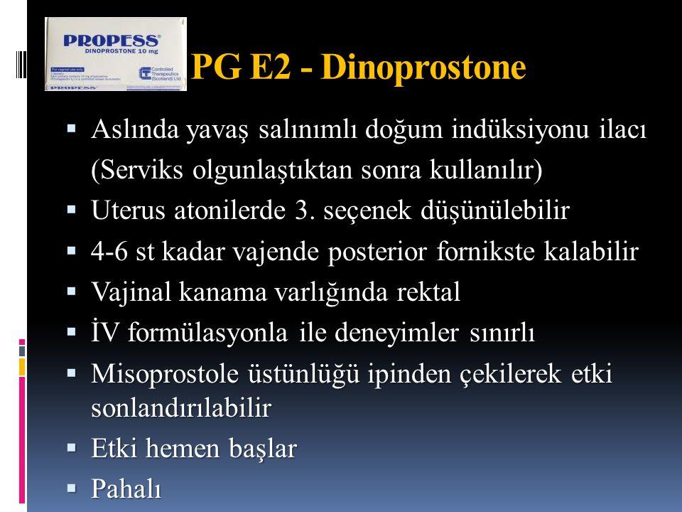 PG E2 - Dinoprostone Aslında yavaş salınımlı doğum indüksiyonu ilacı