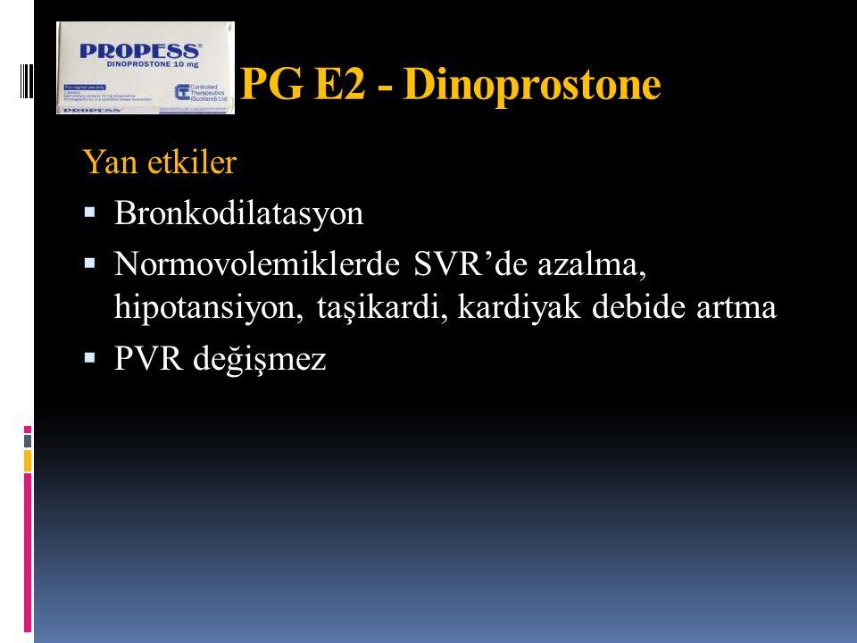 PG E2 - Dinoprostone Yan etkiler Bronkodilatasyon