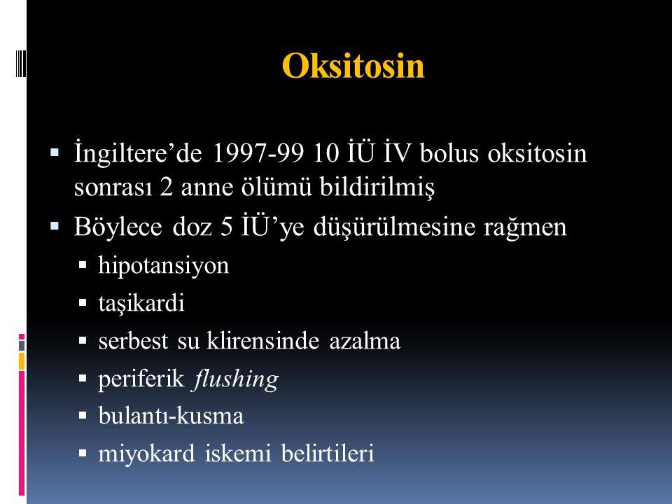Oksitosin İngiltere'de 1997-99 10 İÜ İV bolus oksitosin sonrası 2 anne ölümü bildirilmiş. Böylece doz 5 İÜ'ye düşürülmesine rağmen.