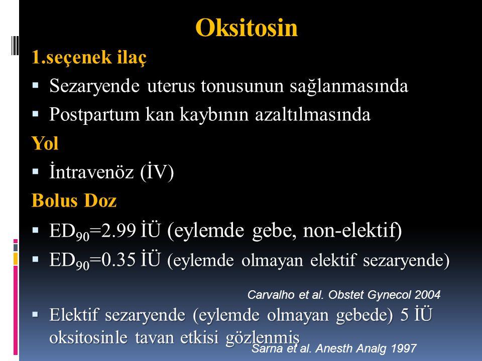 Oksitosin 1.seçenek ilaç Sezaryende uterus tonusunun sağlanmasında