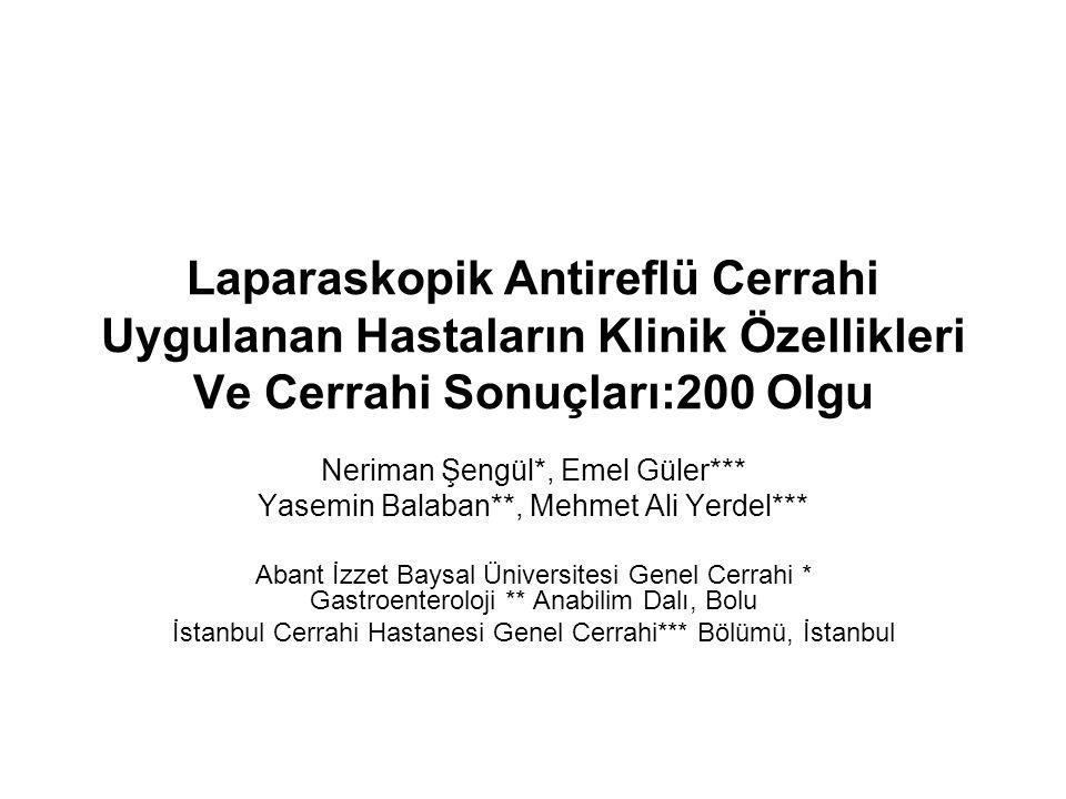 Laparaskopik Antireflü Cerrahi Uygulanan Hastaların Klinik Özellikleri Ve Cerrahi Sonuçları:200 Olgu