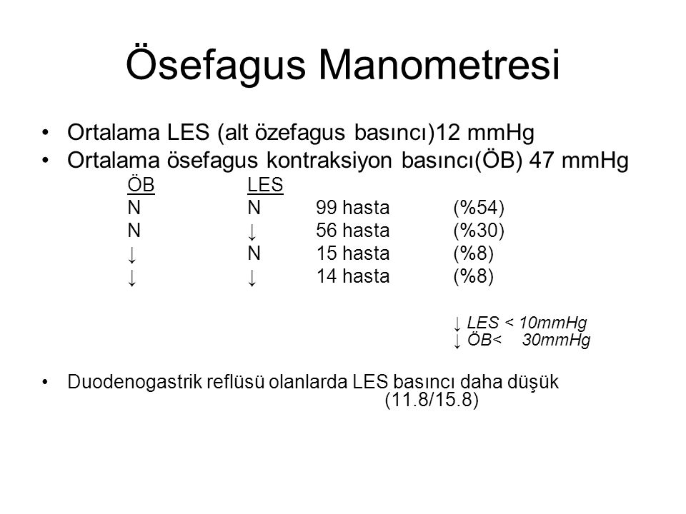 Ösefagus Manometresi Ortalama LES (alt özefagus basıncı)12 mmHg