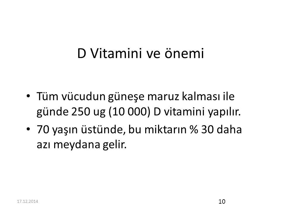 D Vitamini ve önemi Tüm vücudun güneşe maruz kalması ile günde 250 ug (10 000) D vitamini yapılır.