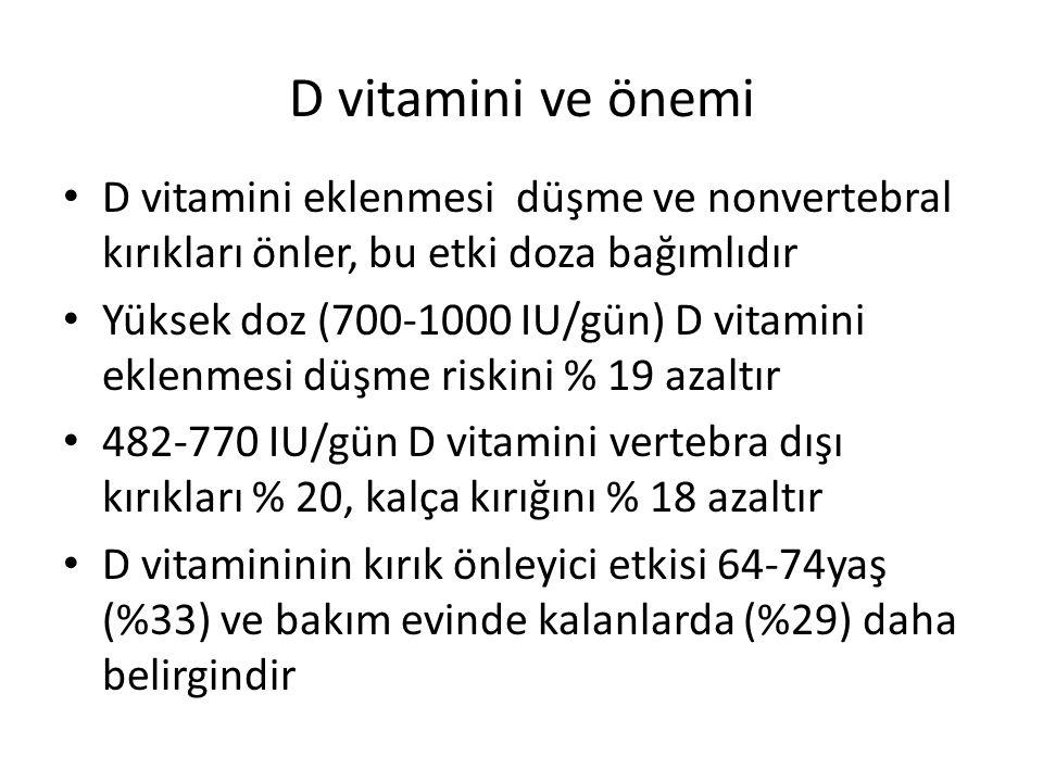 D vitamini ve önemi D vitamini eklenmesi düşme ve nonvertebral kırıkları önler, bu etki doza bağımlıdır.