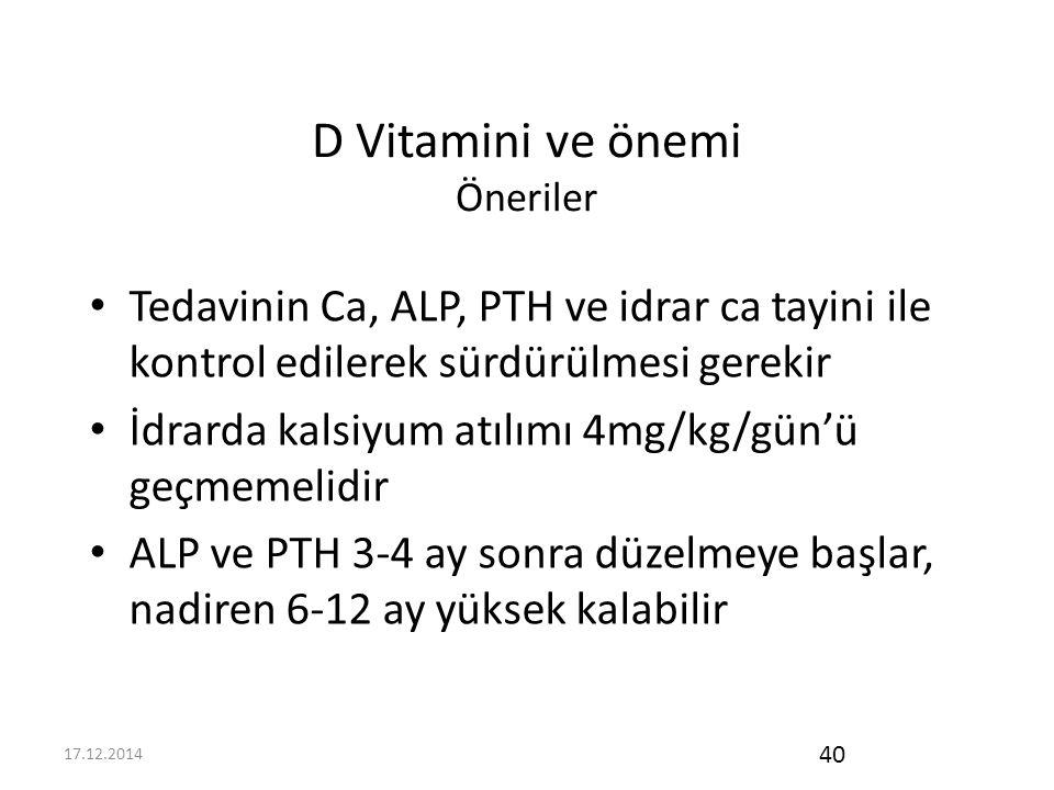 D Vitamini ve önemi Öneriler