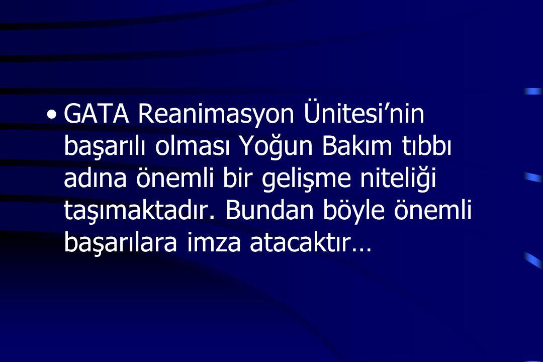 GATA Reanimasyon Ünitesi'nin başarılı olması Yoğun Bakım tıbbı adına önemli bir gelişme niteliği taşımaktadır.