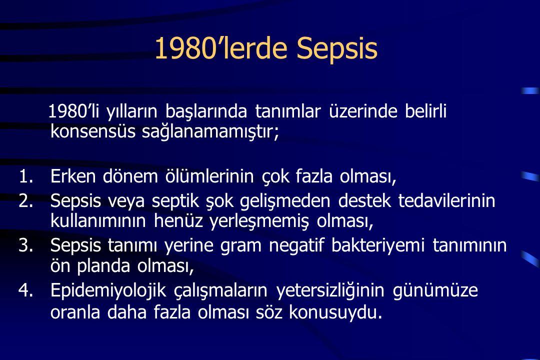 1980'lerde Sepsis 1980'li yılların başlarında tanımlar üzerinde belirli konsensüs sağlanamamıştır; Erken dönem ölümlerinin çok fazla olması,