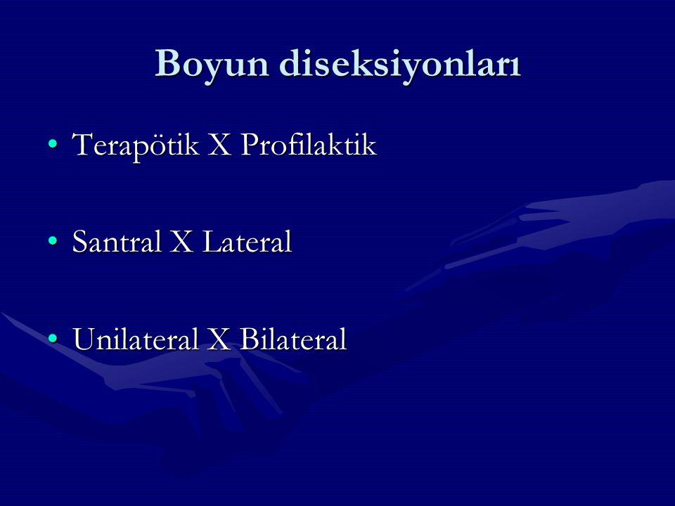 Boyun diseksiyonları Terapötik X Profilaktik Santral X Lateral