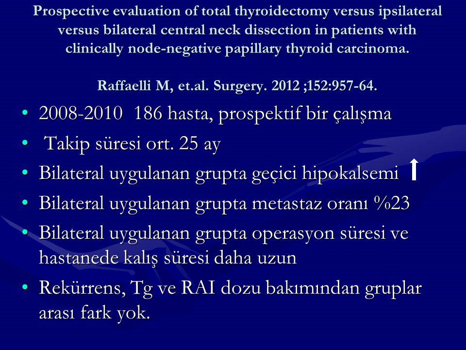 2008-2010 186 hasta, prospektif bir çalışma Takip süresi ort. 25 ay