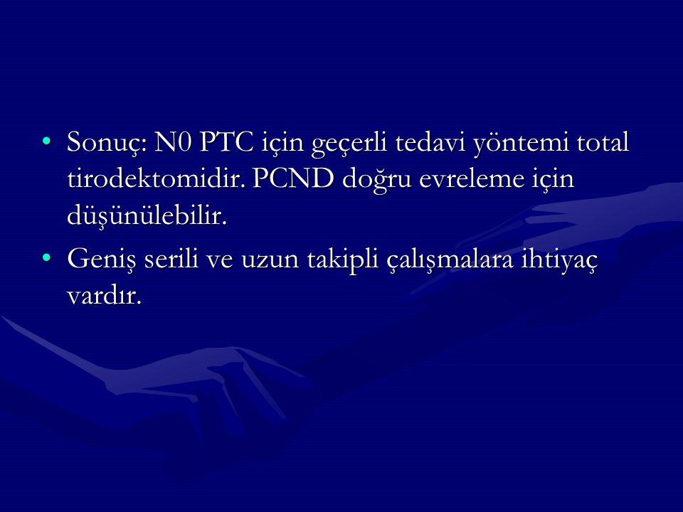 Sonuç: N0 PTC için geçerli tedavi yöntemi total tirodektomidir