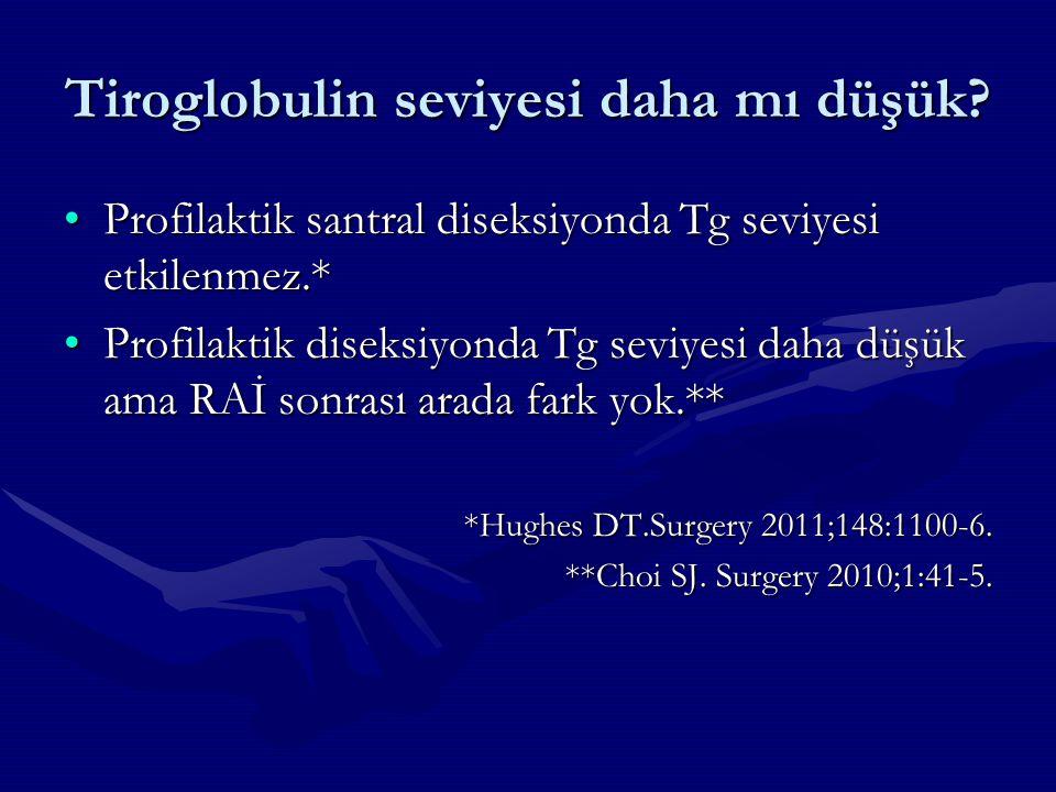 Tiroglobulin seviyesi daha mı düşük