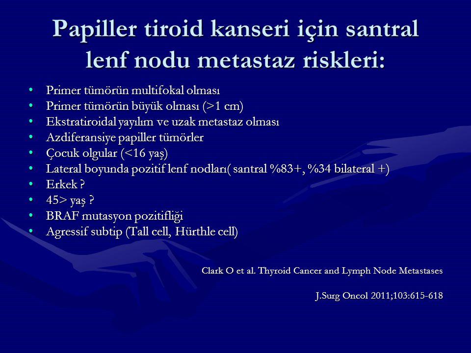 Papiller tiroid kanseri için santral lenf nodu metastaz riskleri: