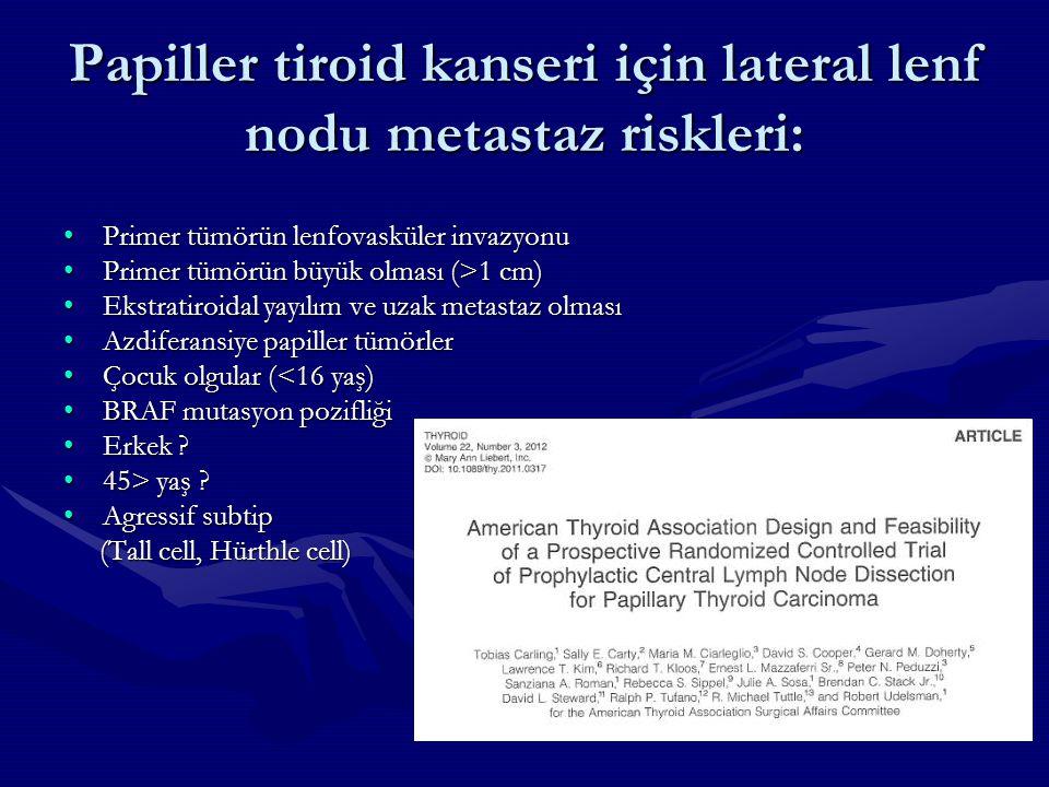 Papiller tiroid kanseri için lateral lenf nodu metastaz riskleri: