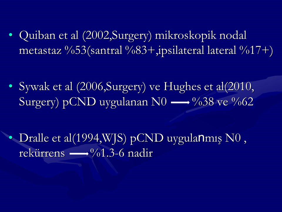 Quiban et al (2002,Surgery) mikroskopik nodal metastaz %53(santral %83+,ipsilateral lateral %17+)
