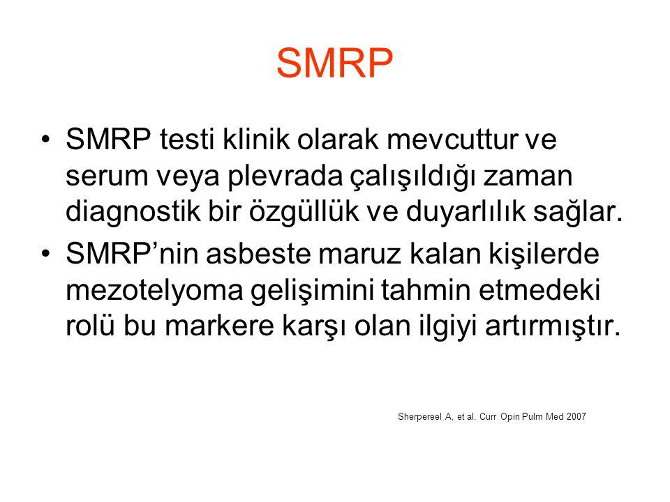 SMRP SMRP testi klinik olarak mevcuttur ve serum veya plevrada çalışıldığı zaman diagnostik bir özgüllük ve duyarlılık sağlar.