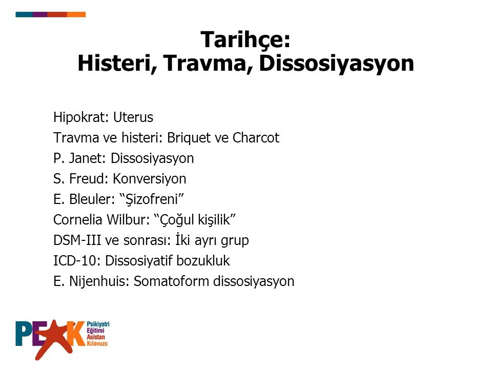 Tarihçe: Histeri, Travma, Dissosiyasyon