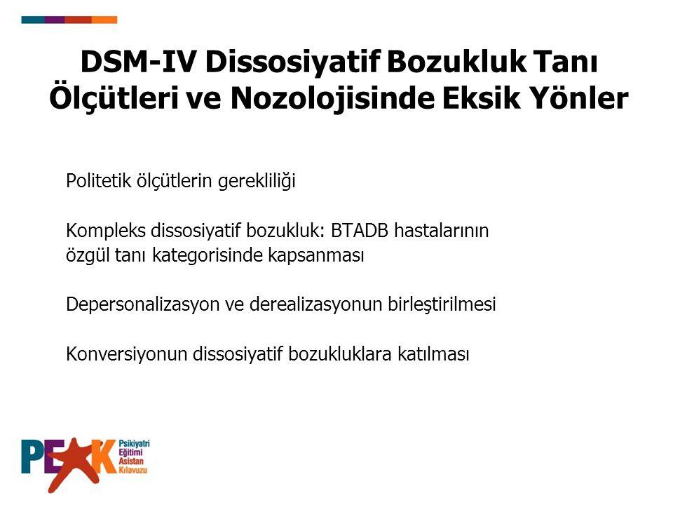DSM-IV Dissosiyatif Bozukluk Tanı Ölçütleri ve Nozolojisinde Eksik Yönler