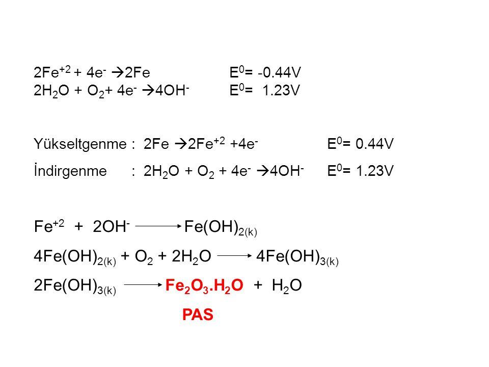 4Fe(OH)2(k) + O2 + 2H2O 4Fe(OH)3(k) 2Fe(OH)3(k) Fe2O3.H2O + H2O PAS