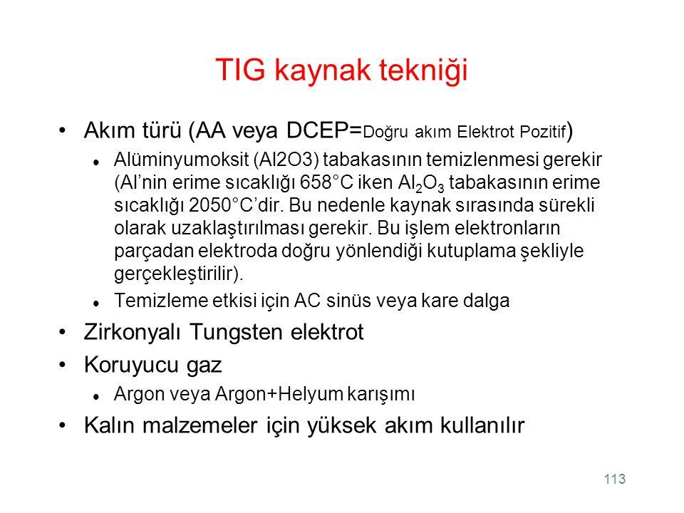 TIG kaynak tekniği Akım türü (AA veya DCEP=Doğru akım Elektrot Pozitif)