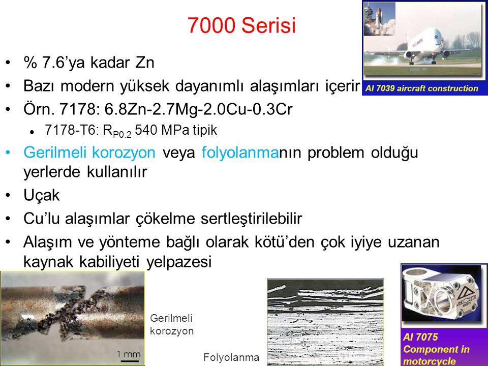 7000 Serisi % 7.6'ya kadar Zn. Bazı modern yüksek dayanımlı alaşımları içerir. Örn. 7178: 6.8Zn-2.7Mg-2.0Cu-0.3Cr.