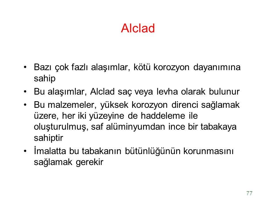 Alclad Bazı çok fazlı alaşımlar, kötü korozyon dayanımına sahip