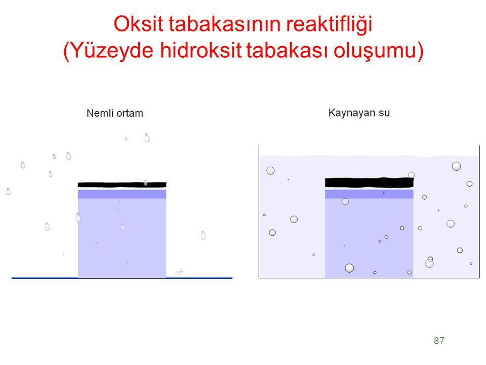 Oksit tabakasının reaktifliği (Yüzeyde hidroksit tabakası oluşumu)