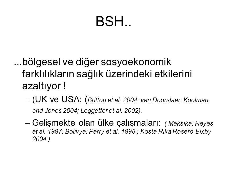 BSH.. ...bölgesel ve diğer sosyoekonomik farklılıkların sağlık üzerindeki etkilerini azaltıyor !