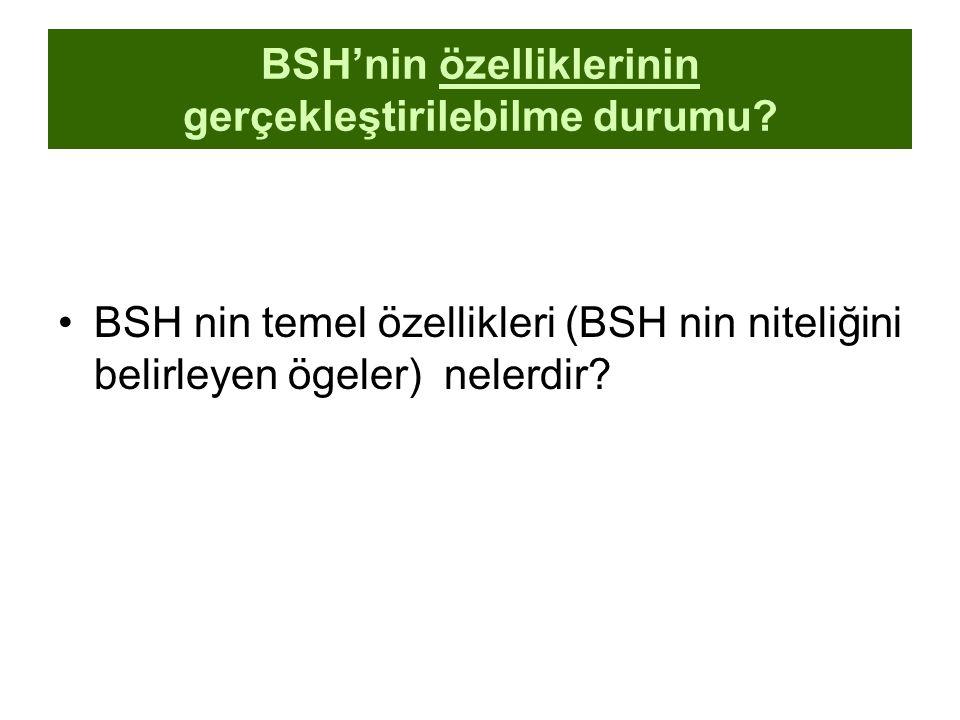 BSH'nin özelliklerinin gerçekleştirilebilme durumu